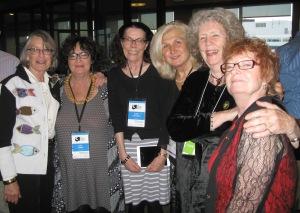 Kate Braid, Judy Rebick, Susan McCaslin, Bianca  Lakoseljac, Penn, Teri Degler Photo: Allan Briesmaster